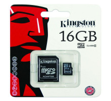 Kingston MicroSDHC 16GB Class 10 + SD adaptér