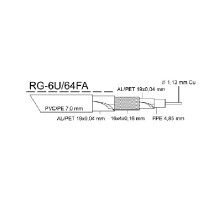 Venkovní kabel KOAX RG-6U/64FA PE, černá 7,0mm, cívka 305m