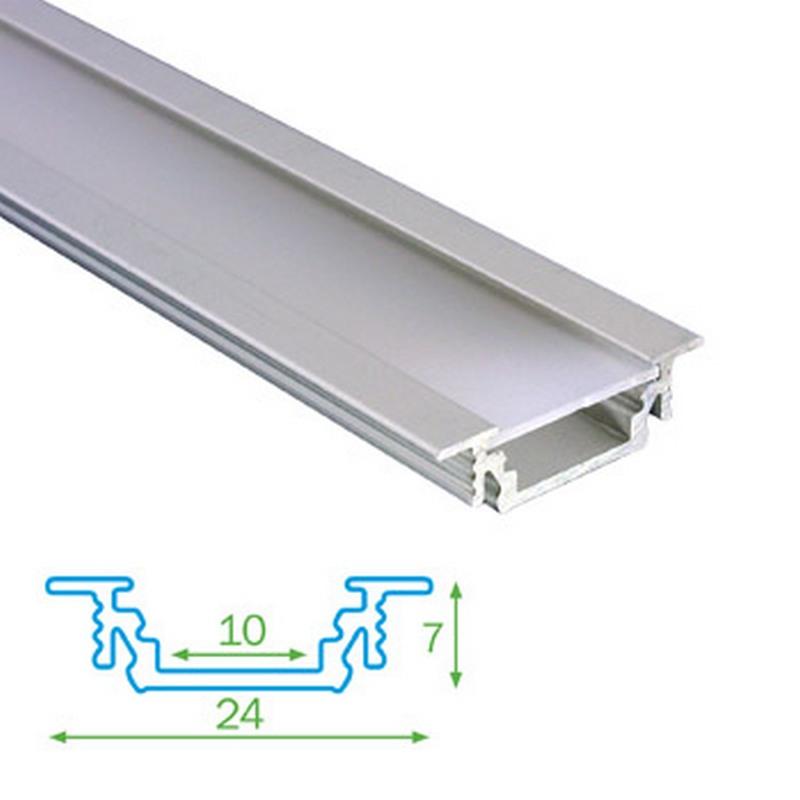 Podhledový profil FKU12 pro LED, s plexi, 1m
