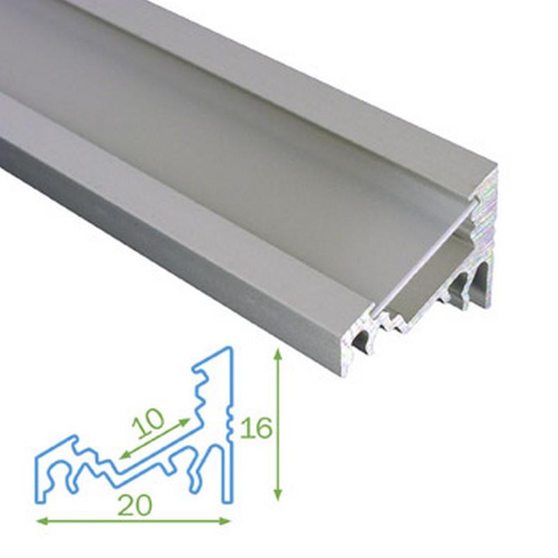 Rohový profil FKU60 pro LED, s plexi, 1m