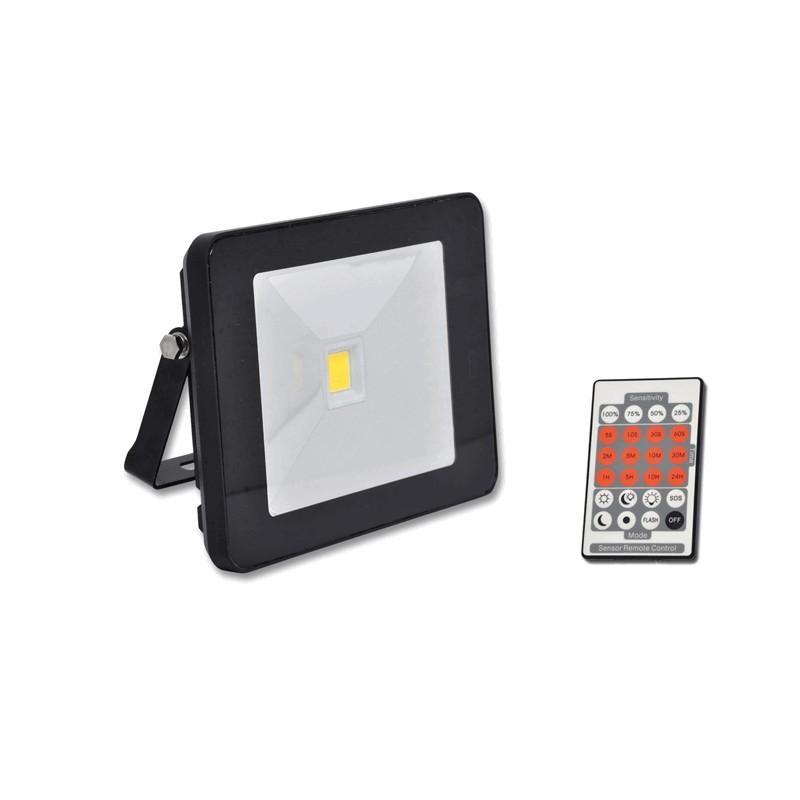 Venkovní SLIM LED reflektor 20W s dálkovým ovladačem černý ECOLITE