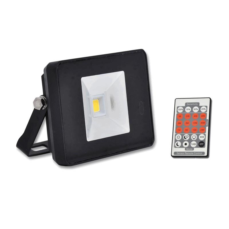 Venkovní SLIM LED reflektor 10W s dálkovým ovladačem černý ECOLITE