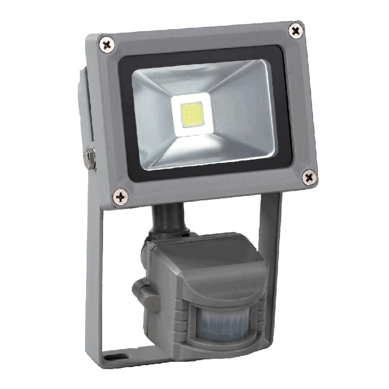 Venkovní LED reflektor 10W se senzorem šedý - FK technics