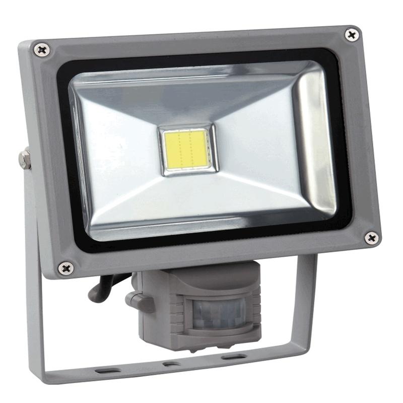 Venkovní LED reflektor 20W se senzorem šedý - FK technics