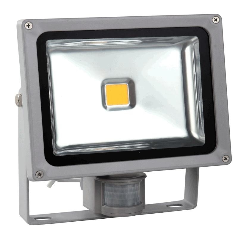 Venkovní LED reflektor 30W se senzorem šedý - FK technics