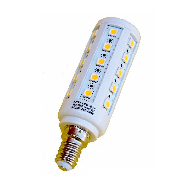 LED žárovka E14 36x5050 teplá bílá 6W 550Lm LexiLED