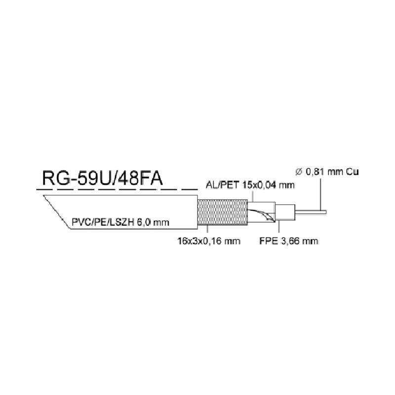 Kabel KOAX RG-59U/48FA, PE černá 6,0mm, cívka 305m