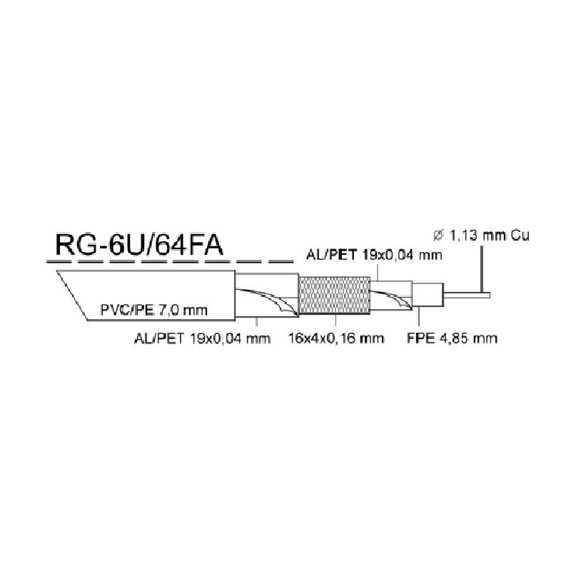 Kabel KOAX RG-6U/64FA PE, černá 7,0mm, cívka 305m