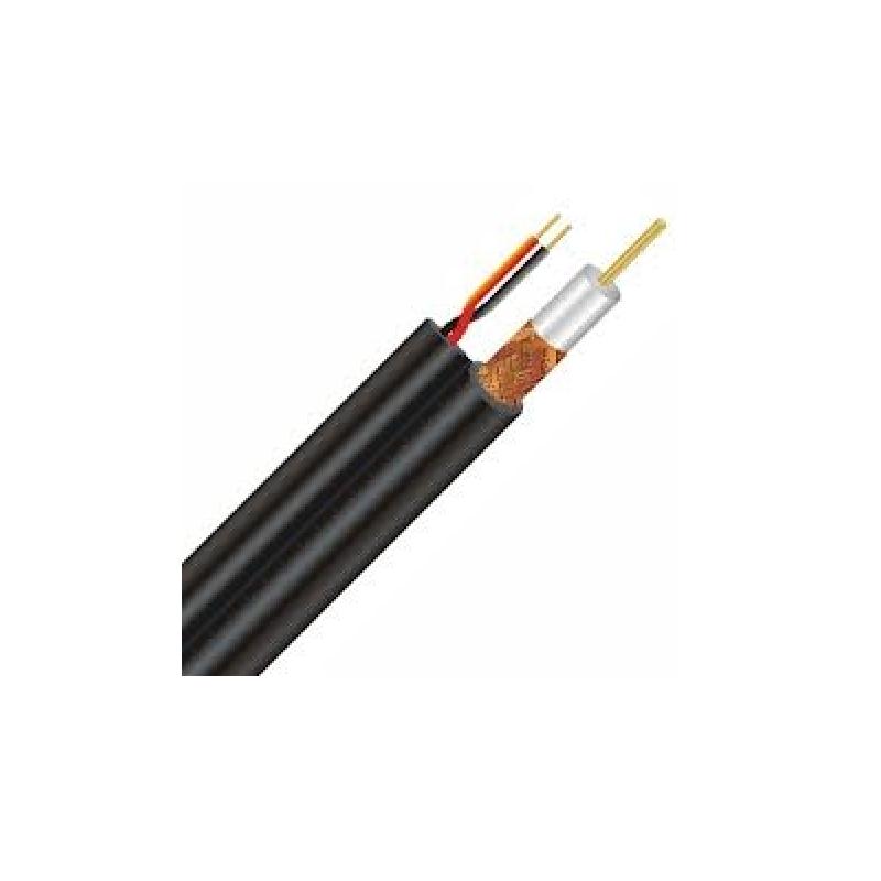 Kabel KOAX RG-59U+2x0,75mm , černý 6,0mm na cívce 250m, 500m